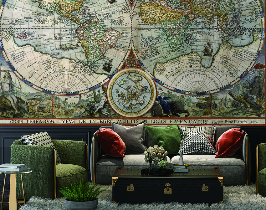 Antique Map - in colour wall mural