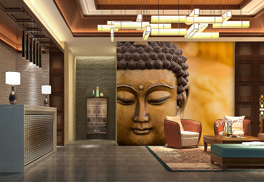 india feature wall mural